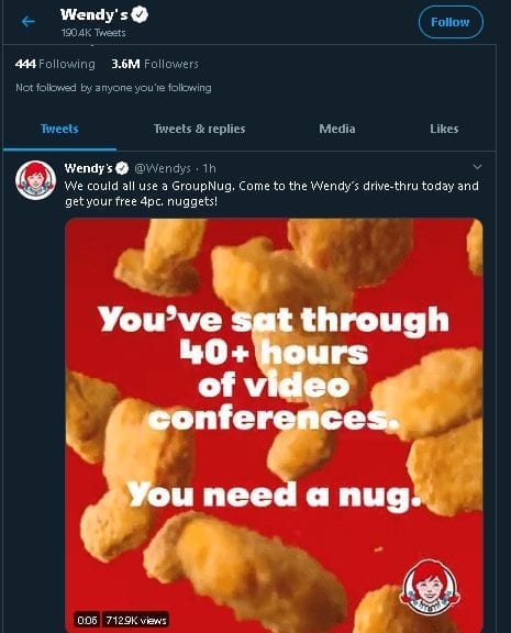 Grow Twitter Followers - Wendy's Tweet