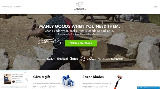 Manpack is yet another company that nailed creative CTA marketing