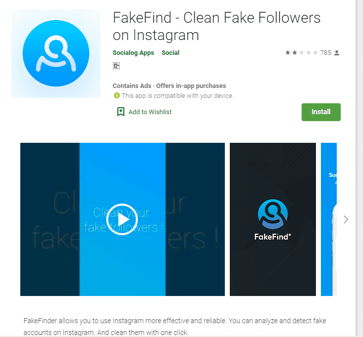 Instagram audit tools - Fake Find