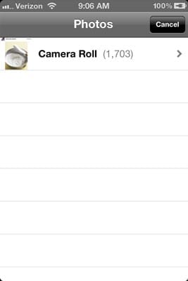 Adding images from camera roll