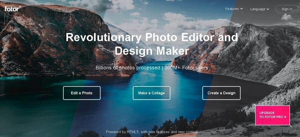 Free image creation tools - Fotor