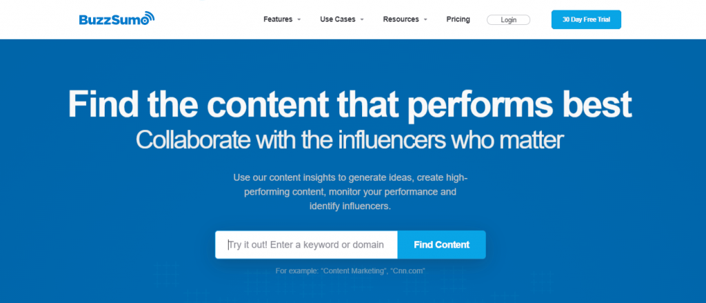 Buzzsumo is one of the most popular social media marketing tools