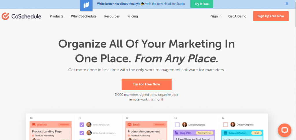 One of the most popular digital marketing tools - CoSchedule.