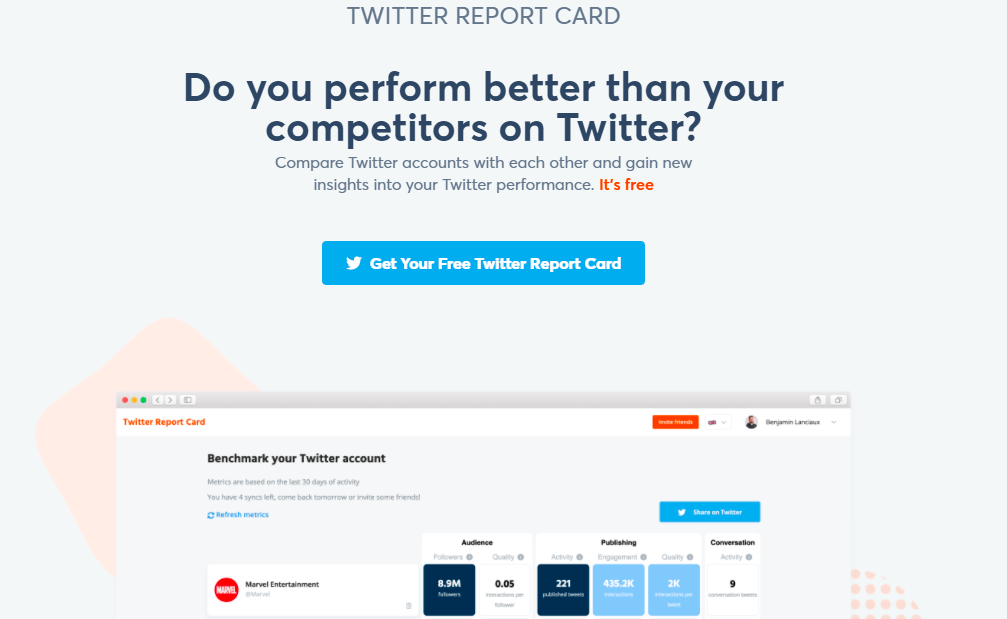 Social media marketing tools - Twitter Report Card